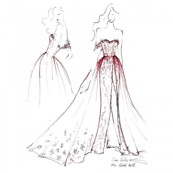 Projekt sukni finałowej Agaty Biernat na finał Miss World 2018